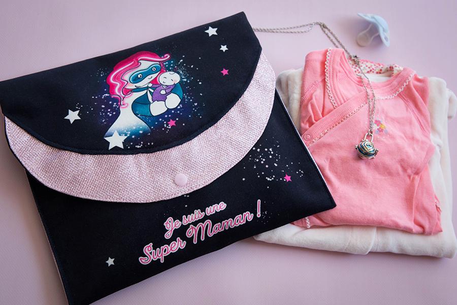 projet couture de la fête des mères pochette super maman