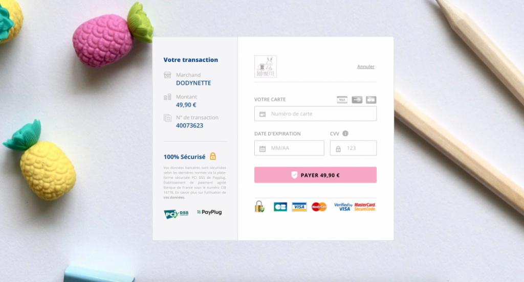 page de paiement payplug dodynette